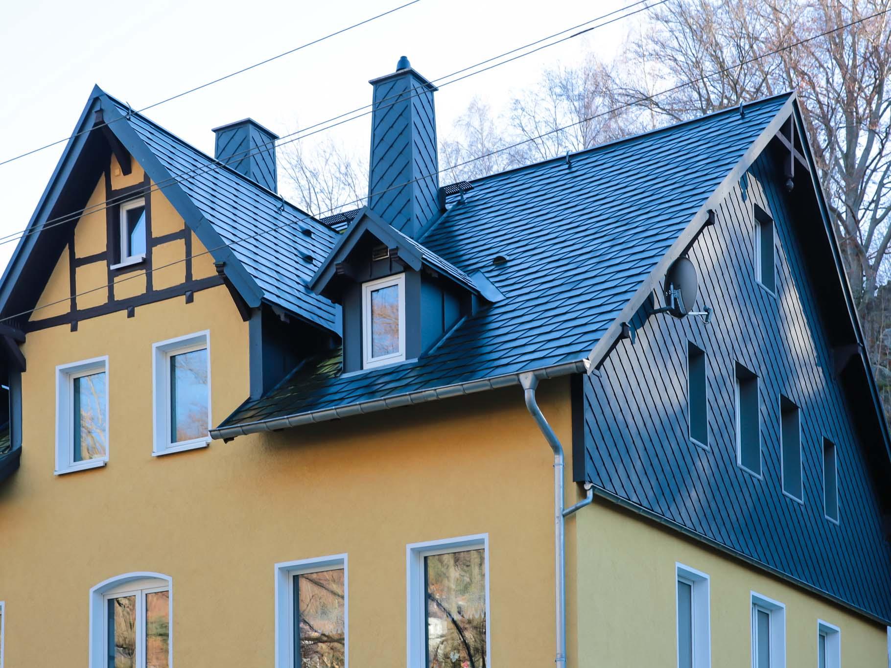 Dacheindeckungen mit Prefa Dachschindeln, Mülsen